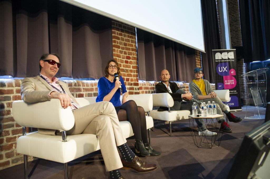 Table ronde avec de gauche à droite, Mathieu Froidure d'Urbilog, Stéphanie Laffargue de CSA, Jérémie Boroy de Aditevent et Damien Senger de Racoon Studio