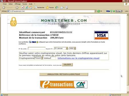 Template de page de paiement fourni par ATOS