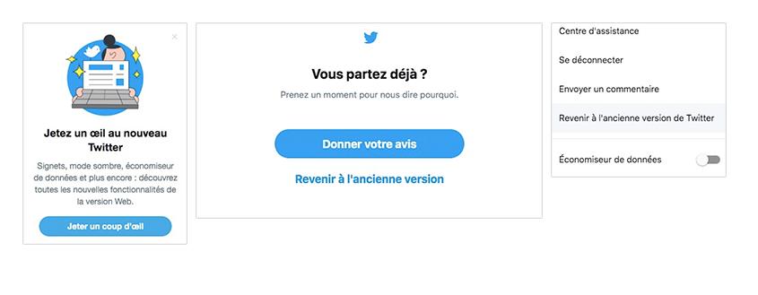 Lors du changement récent d'interface, Twitter a mis à disposition de ses utilisateurs plusieurs moyens de revenir en arrière et de donner son avis.