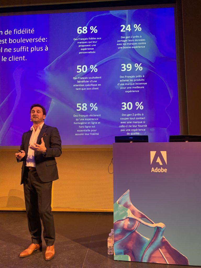 Luc Namann, VP Europe d'Adobe, lors de la conférence Adobe CXM Space à Paris en Novembre 2019