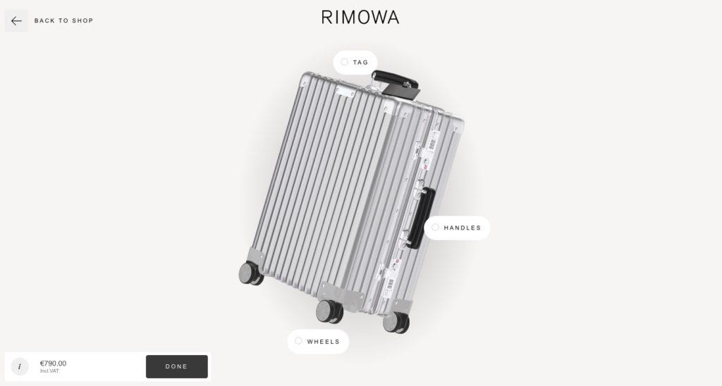 Configurateur de bagage de Rimowa