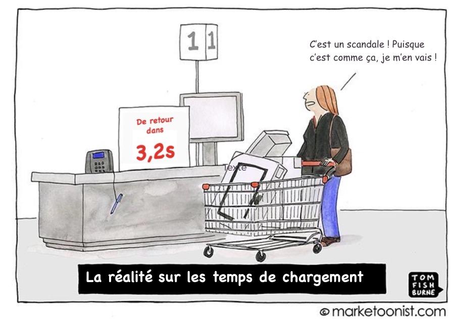 Illustration d'une personne ne pouvant patienter en magasin