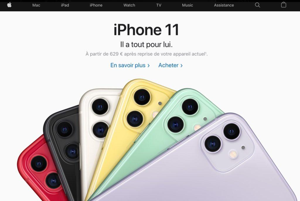 Page d'accueil du site d'Apple