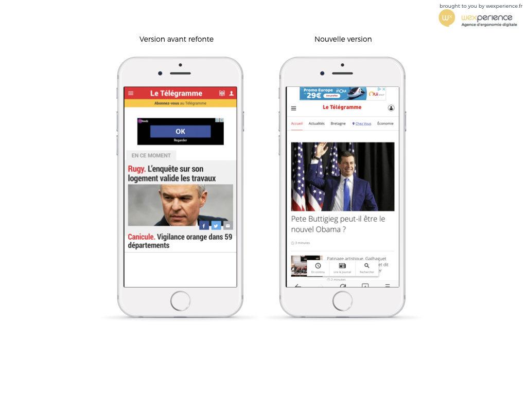Le site web mobile de Letelegramme.fr avant et après refonte en 2020