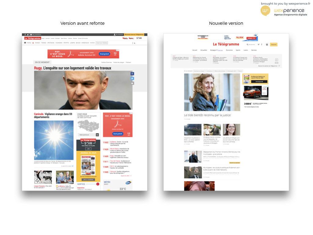 Site web de letelegramme.fr avant et après sa refonte en 2020