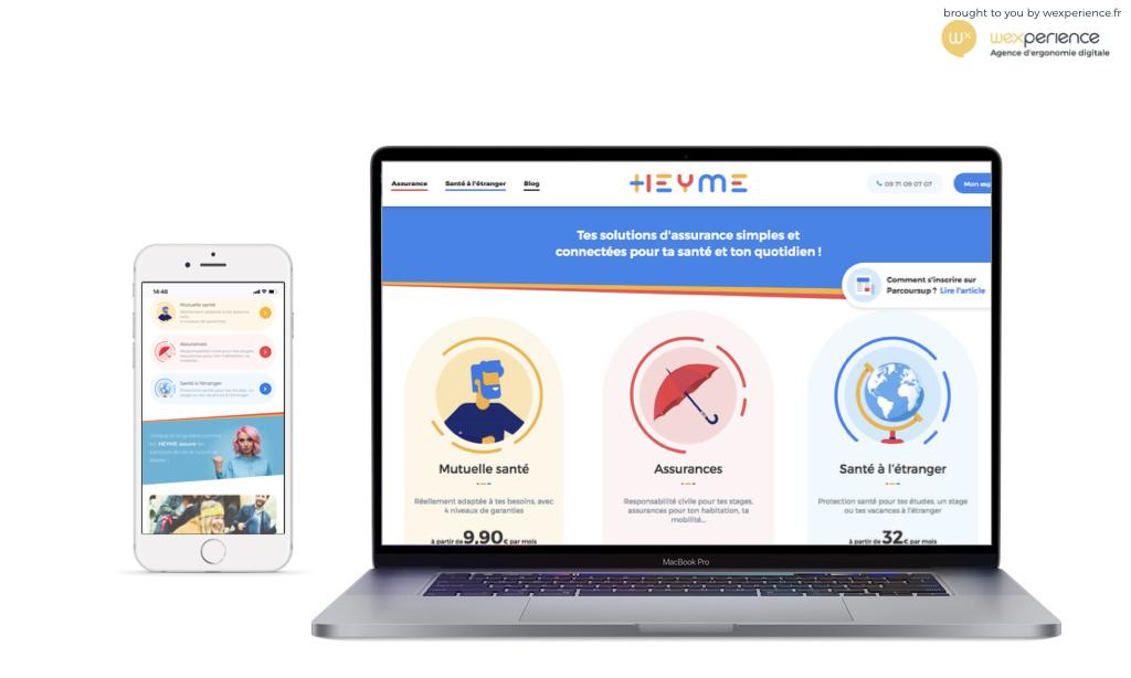Vues du site Heyme.care sur ordinateur et sur smartphone